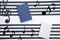 The blue and white cover books on the score