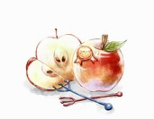 Organic apple and fork