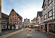 Half-timbered houses, Kirschgarten square, Mainz, Rhineland-Palatinate, Germany, Europe