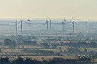 Aerial view, wind farm near Twedt at dawn, backlit, Schleswig_Flensburg district, Schleswig_Holstein, Germany, Europe