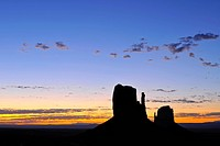 Mesas, West Mitten Butte, East Mitten Butte, dawn, sunrise, Monument Valley, Navajo Tribal Park, Navajo Nation Reservation, Arizona, Utah, United Stat...