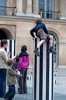 Paris, France, French Children Playing in Palais Royale Garden, with Modern Sculpture Installation on Display, Credit Artist: Van Buren