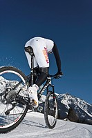 Winter, riding a bike, sport, mountain bike, man, Biking, Dachstein, Ramsau, Styria, Austria, fitness, bicycle