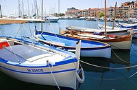 Fishing boats tied up at Cannes harbour, Cote d'Azur, France