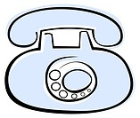 Blue old phone on white background - stylized vector illustration Design element, isolated