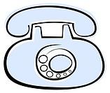 Blue old phone on white background - stylized vector illustration Design element, isolated