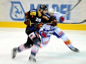 Ice hockey players in a duell, wipe effect, motion blur