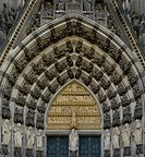 Detailed view of the west entrance, main entrance, Virgin Mary and Christ child at the centre, Cologne Cathedral, a UNESCO World Heritage site, Cologn...