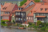 Little Venice, Regnitz river, Old fishermen´s houses, Bamberg, UNESCO World Heritage site, Franconia, Bavaria, Germany, Europe