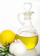 Olive oil, lemon, rosemary, and garlic