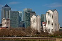 Canary Wharf and Riverside Apartment Blocks, London, England