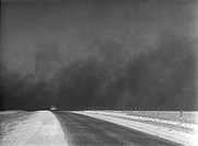 Heavy black clouds of dust rising over the Texas Panhandle. March 1936 photo by Arthur Rothstein