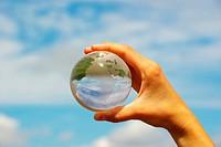 globe on the human hand