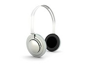 3D rendered Illustration. Chrome / Silver Headphones. Isolated on white.