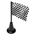 Chequered flag on the mast. 3D render. Isolated on white.
