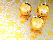 3D rendering of Christmas balls on golden stars background