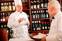 Chef cook drink coffee waiter serve on tray in restaurant