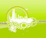 City and nature with circles on green background.