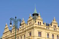 Magnificent art nouveau façade on the Republic Square, Prague, Bohemia, Czech Republic, Europe