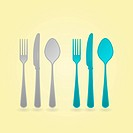 Illustration of Fork Knife and Spoon vector concept in two color sets