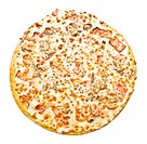 Italian pizza baked on white background