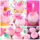 Cupcake collage. Montage of cupcake images, in pastel tones.