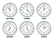 Analog clocks isolated on a white background.