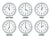 Analog clocks isolated on a white background.