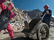 Road construction at Karakorum Highway by Chinese labourers, working under rough conditions, Gilgit, North West Frontier, Pakistan, South Asia
