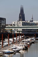 Marina with a view of the Cologne Cathedral, Rheinauhafen district, Cologne, North Rhine-Westphalia, Germany, Europe