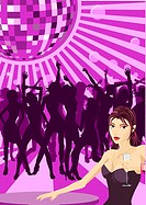 Beautiful woman with champagne and women dancing in silhouette in the background