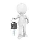 3D little human character with a Car Key. Black
