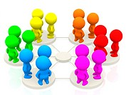 Groups of 3d people networking _ isolated over a white background