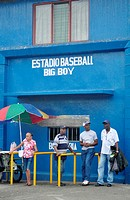 Puerto Limón Costa Rica: people at the entrance of the baseball stadium 'Big Boy'