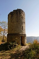 Defence tower of Schloss Hausen castle ruins, Upper Danube Nature Park, Sigmaringen district, Baden-Wuerttemberg, Germany, Europe