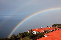 double rainbow above the Atlantic Ocean at the resort Jardim Atlantico, Prazeres, Madeira, Portugal, Europe.