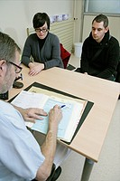 Photo essay at Rouen hospital, France. Parents_to_be in consultation with an anesthetist.