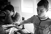 Photo essay in a French Medico_Educational Institute. This institute takes care of 26 autistic teenagers. Young austitics using makaton to communicate...