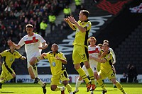21 04 2012 Milton Keynes, England Milton Keynes Dons v Sheffield United Kevin MCDONALD of Sheffield United clears under pressure from Republic of Irel...