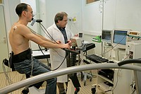 Photo essay at Caen hospital in France. Pulmonary function testing: exercise test.