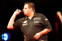 26 04 2012 Liverpool, England Adrian Lewis in action during round 12 of the McCoys PDC Premier League Darts championship played at the Liverpool Echo ...