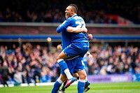 28 04 2012 Birmingham, England Birmingham City v Reading Adam Rooney Birmingham City celebrates with Nathan Redmond Birmingham City after scoring duri...