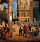Market of Figini, by Angelo Inganni, 19th Century, oil on woven board, cm 93 x 76 . private collection. Detail. Cathedral square in Milan with people,...