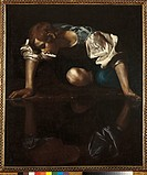 Narcissus, by Michelangelo Merisi known as Caravaggio, 1599 _ 1600, 16th Century, oil on canvas, cm 118 x 99 . Italy, Lazio, Rome, National Gallery of...