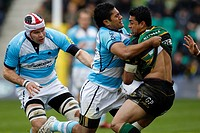 05 05 2012 Northampton, England Rugby Union Northampton Saints v Worcester Warriors George PISI of Northampton Saints is tackled by Ravai FATIAKI of W...