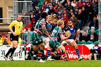 21 04 2012 Leicester, England Leicester Tigers v Bath Rugby Billy Twelvetrees Leicester Tigers in action during the Premiership Rugby game played at t...