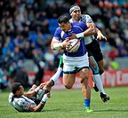 06 05 2012 Glasgow, Scotland HSBC Sevens World Series Alafoti Faosiliva gets tackled by Waisea Nayacalevu during the game between at the Scotstoun Sta...