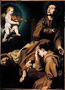 The Ecstasy of St Francis, by Andrea Lilli, 17th Century, oil on canvas, cm 136 x 98. Italy, Lombardy, Milan, Brera Art Gallery. All. The Ecstasy of S...