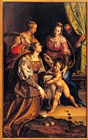 Madonna and Child with St Joseph, St Catherine, St Agnes, by Antonio Campi, 1570 about, 16th Century, oil on canvas, cm 230 x 143. Italy, Lombardy, Mi...