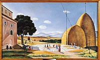 Rural Landscape, by Giovanni Colacicchi, 1941 ante, 20th Century, oil on canvas, cm 150 x 90. Italy, Lazio, Rome, Private Collection. All. Rural lands...